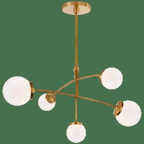 Prescott Medium Mobile Chandelier in Soft Brass with White Glass