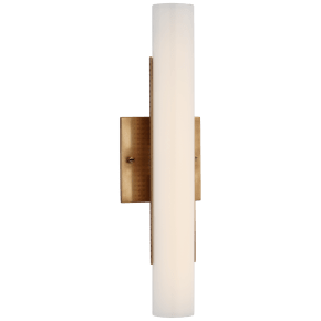 "Precision 15"" Bath Light in Antique-Burnished Brass with White Glass"