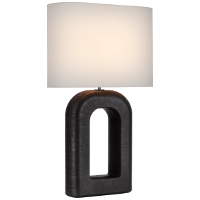 Utopia Large Combed Table Lamp in Aged Iron with Linen Shade