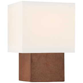 Pari Petite Square Table Lamp in Autumn Copper with Linen Shade