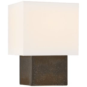 Pari Petite Square Table Lamp in Stained Black Metallic with Linen Shade
