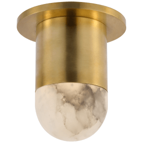 Melange Mini Monopoint Flush Mount in Antique-Burnished Brass with Alabaster