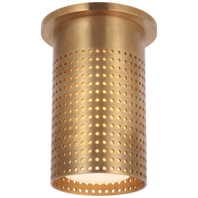 Precision Short Monopoint Flush Mount in Antique-Burnished Brass with White Glass