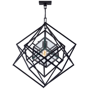 Cubist Small Chandelier in Aged Iron