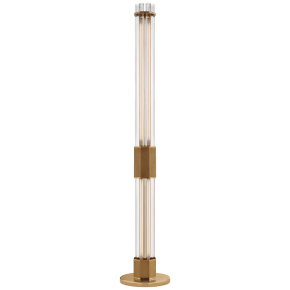 Fascio Large Floor Lamp in Hand-Rubbed Antique Brass with Crystal