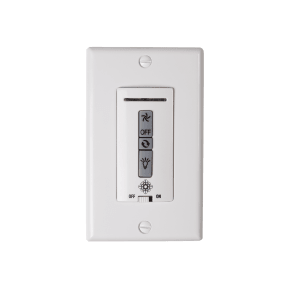 Hardwired remote WALL CONTROL ONLY. Fan reverse, speed, and downlight control. White