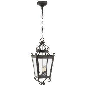 Lafayette Medium Hanging Lantern in French Rust with Clear Glass