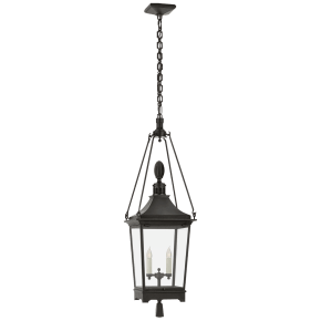 Rosedale Classic Medium Hanging Lantern in French Rust with Clear Glass
