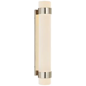 Barton Medium Bath Sconce in Polished Nickel with Etched Crystal