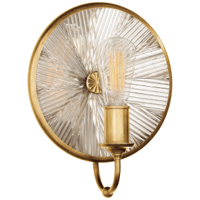 Rivington Small Round Sconce in Natural Brass with Ribbed Mirror