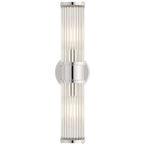 Allen Double Light Sconce in Polished Nickel and Glass Rods