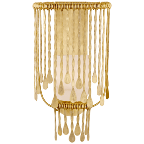 Kayla Medium Sculpted Sconce in Natural Brass with Alabaster