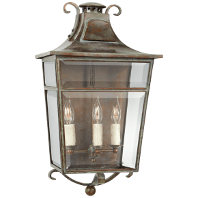 Carrington Medium Sconce in Weathered Verdigris with Clear Glass