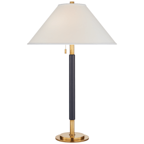 Garner Table Lamp in Natural Brass and Navy Leather with Percale Shade