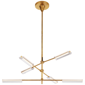 Daley Medium Six Light Chandelier in Natural Brass with Clear Acrylic