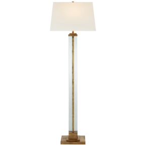 Wright Large Floor Lamp in Gilded Iron with Linen Shade