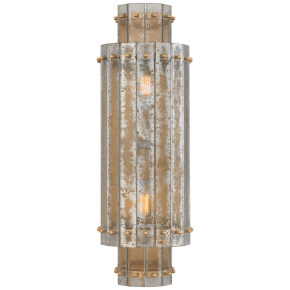 Cadence Large Tiered Sconce in Hand-Rubbed Antique Brass with Antique Mirror