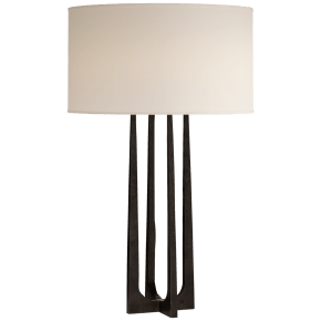 Scala Hand-Forged Table Lamp in Aged Iron with Natural Percale Shade