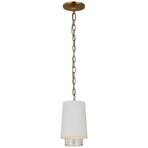 Sydney Narrow Pendant in Matte White and Clear Glass