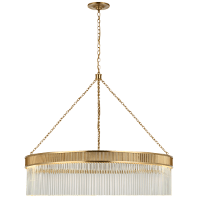 Menil Large Chandelier in Soft Brass with Crystal Rods