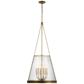 """Reese 23"""" Pendant in Soft Brass with Clear Restoration Glass"""