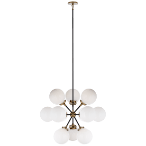 Bistro Small Round Chandelier in Hand-Rubbed Antique Brass and Black with White Glass