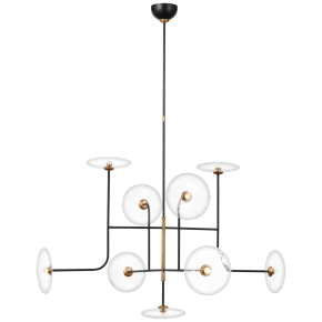 Calvino X-Large Arched Chandelier in Aged Iron and Hand-Rubbed Antique Brass with Clear Glass