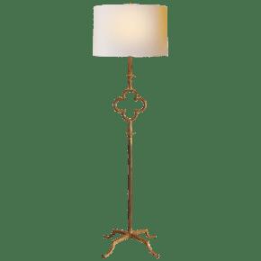 Quatrefoil Floor Lamp in Gilded Iron with Linen Shade