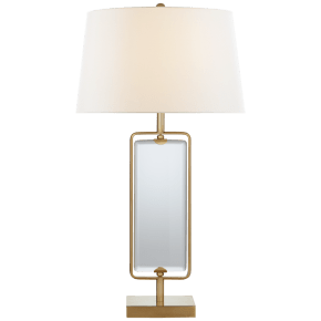 Henri Large Framed Table Lamp in Hand-Rubbed Antique Brass with Linen Shade