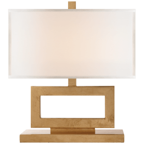Mod Low Table Lamp in Gild with Linen Shade
