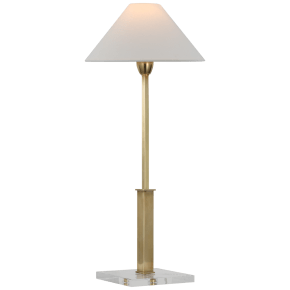 Asher Table Lamp in Hand-Rubbed Antique Brass and Crystal with Linen Shade