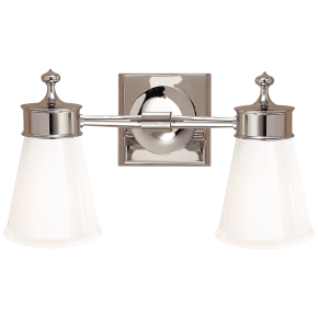 Siena Double Sconce in Polished Nickel with White Glass
