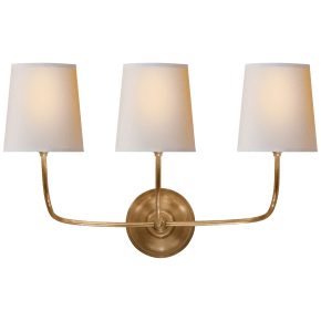 Vendome Triple Sconce in Hand-Rubbed Antique Brass with Natural Paper Shades