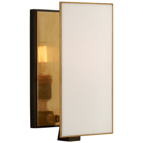 Albertine Small Sconce in Bronze and Brass with Linen Diffuser