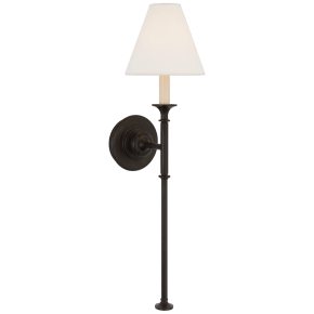 Piaf Large Tail Sconce in Aged Iron with Linen Shade