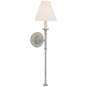 Piaf Large Tail Sconce in Swedish Gray with Linen Shade