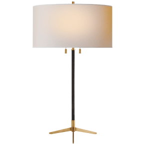 Caron Table Lamp in Bronze and Hand-Rubbed Antique Brass with Natural Paper Shade