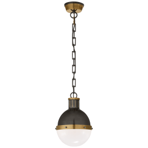 Hicks Small Pendant in Bronze and Hand-Rubbed Antique Brass with White Glass