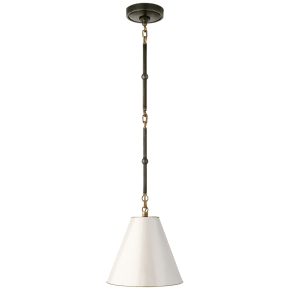 Goodman Petite Hanging Shade in Bronze and Hand-Rubbed Antique Brass with Antique White Shade