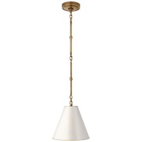 Goodman Petite Hanging Shade in Hand-Rubbed Antique Brass with Antique White Shade