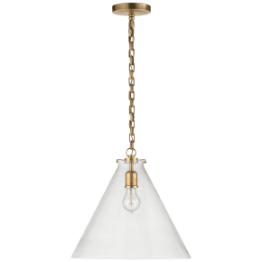 Katie Conical Pendant in Hand-Rubbed Antique Brass with Clear Glass