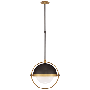 Decca Large Orbital Pendant in Bronze and Hand-Rubbed Antique Brass with White Glass