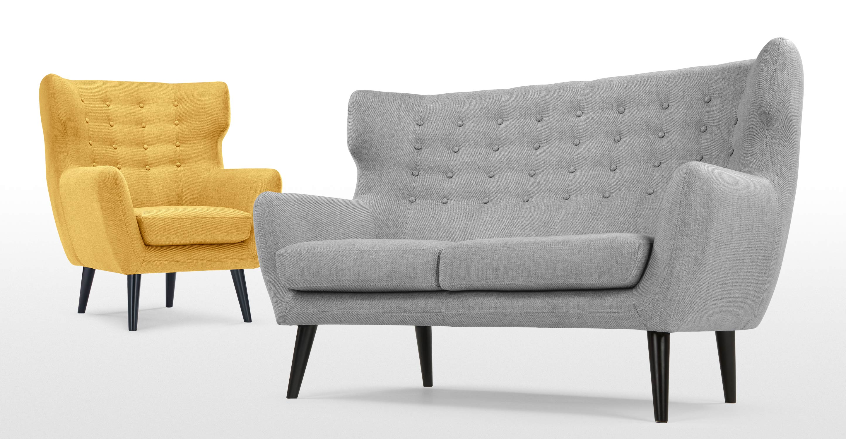 kubrick wing back chair in ochre yellow. Black Bedroom Furniture Sets. Home Design Ideas