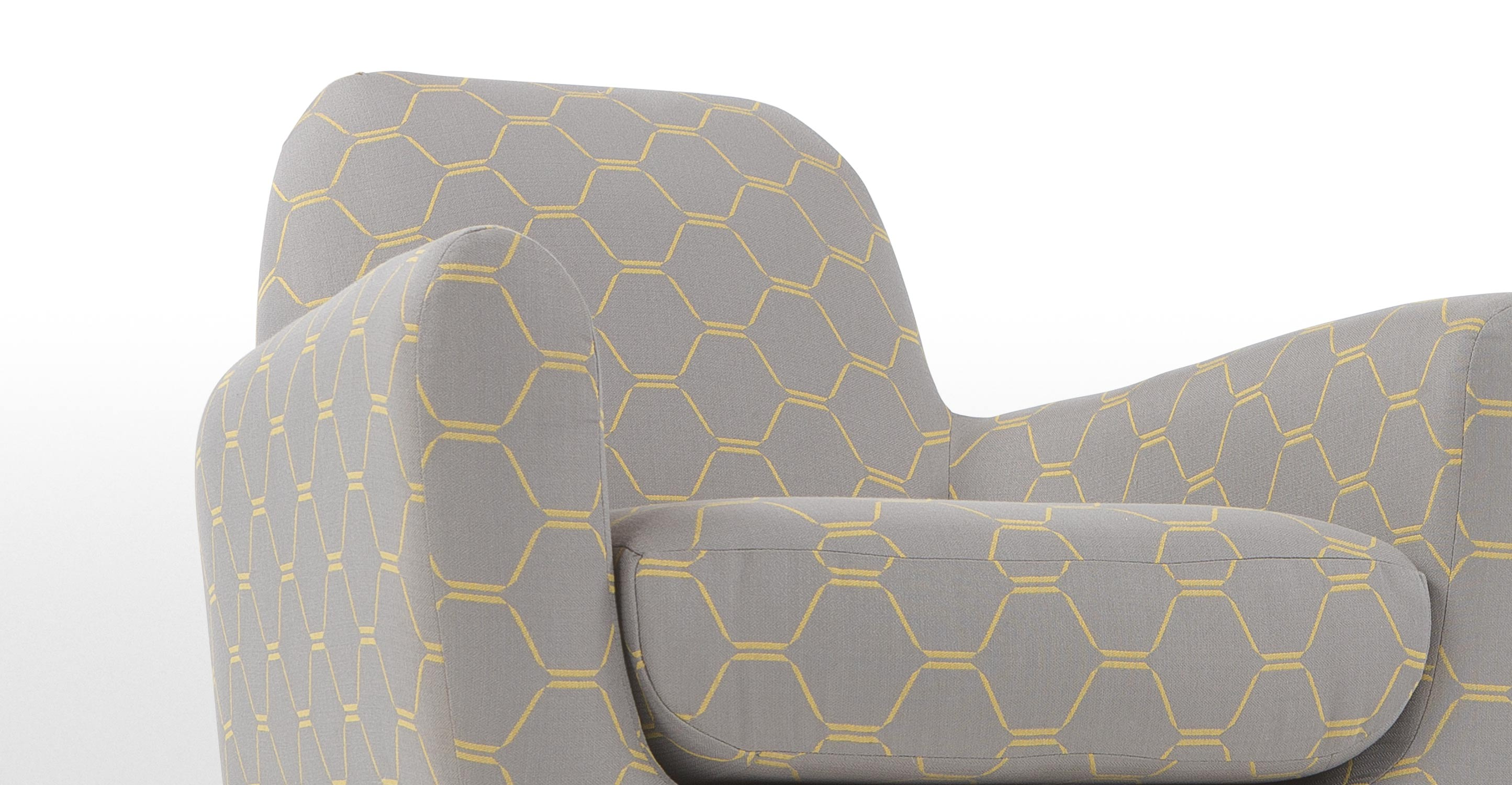 jonah un fauteuil imprim hexagonal gris et jaune. Black Bedroom Furniture Sets. Home Design Ideas