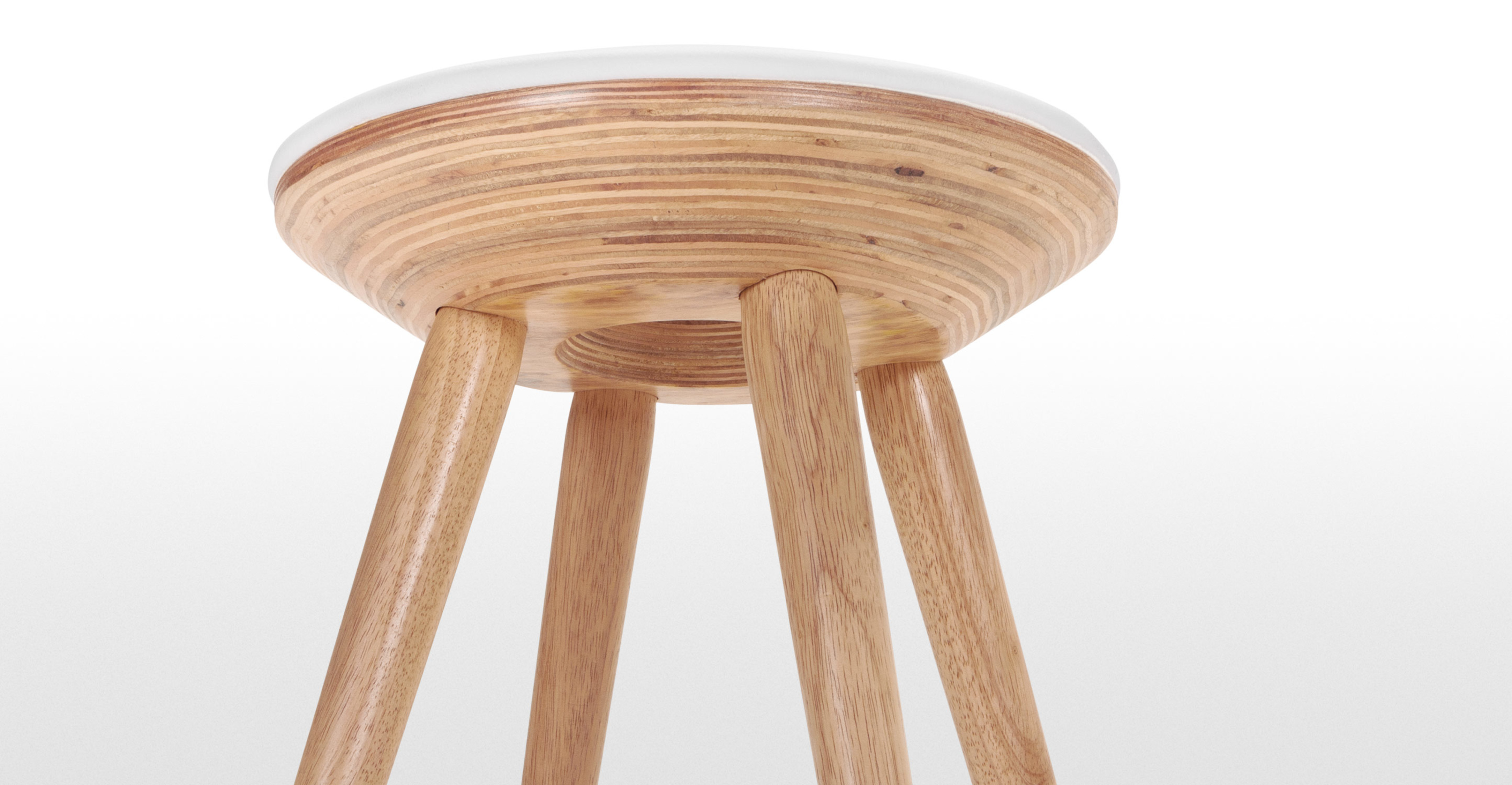 Pair Of Kitson Stools In Natural Wood And White