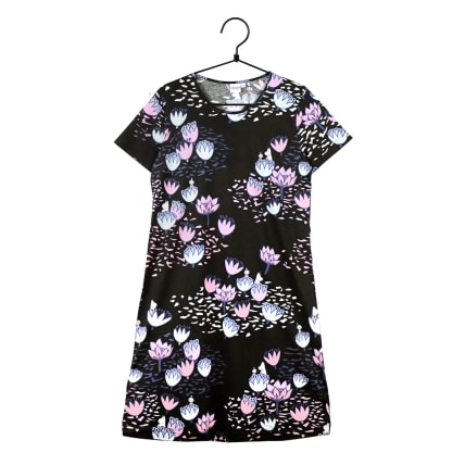 Moomin Pond-Lily Nightgown Short-sleeve black