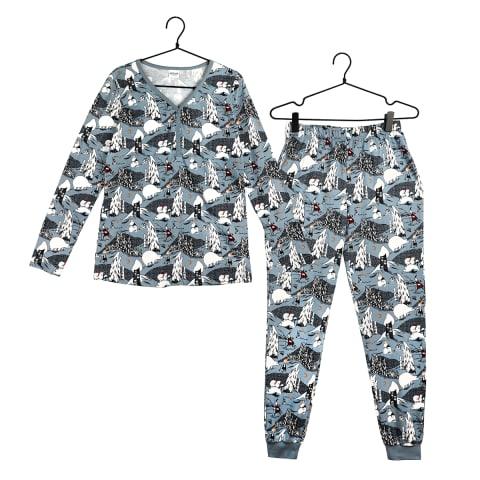Muumi Jääkarhu-pyjama naisten malli sininen