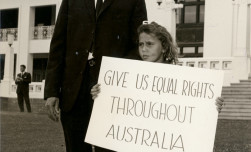 Former boxer Jack Hassen and his daughter demonstrating outside Parliament House, Canberra, in the lead up to the 1967 Referendum. Photo: AIATSIS Collection DIXON.C01.DF-D00000172