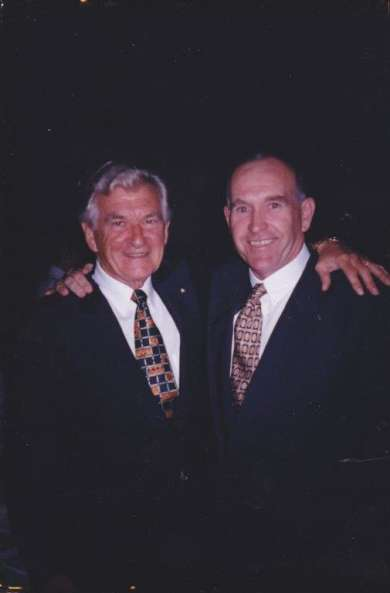 Former prime minister Bob Hawke with Old Parliament House volunteer Bob Hawke