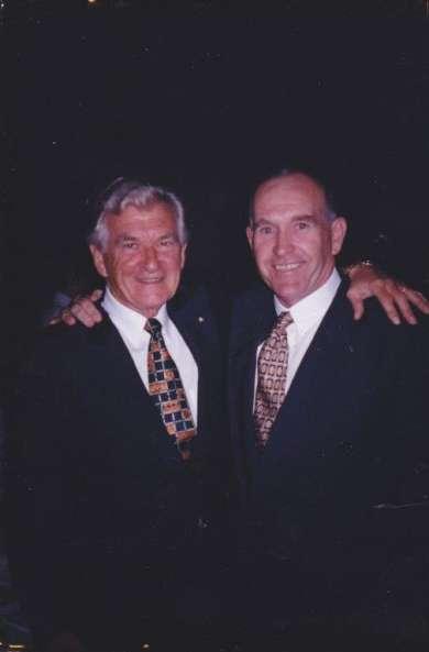 Former prime minister Bob Hawke with Old Parliament House volunteer Bob Hawke